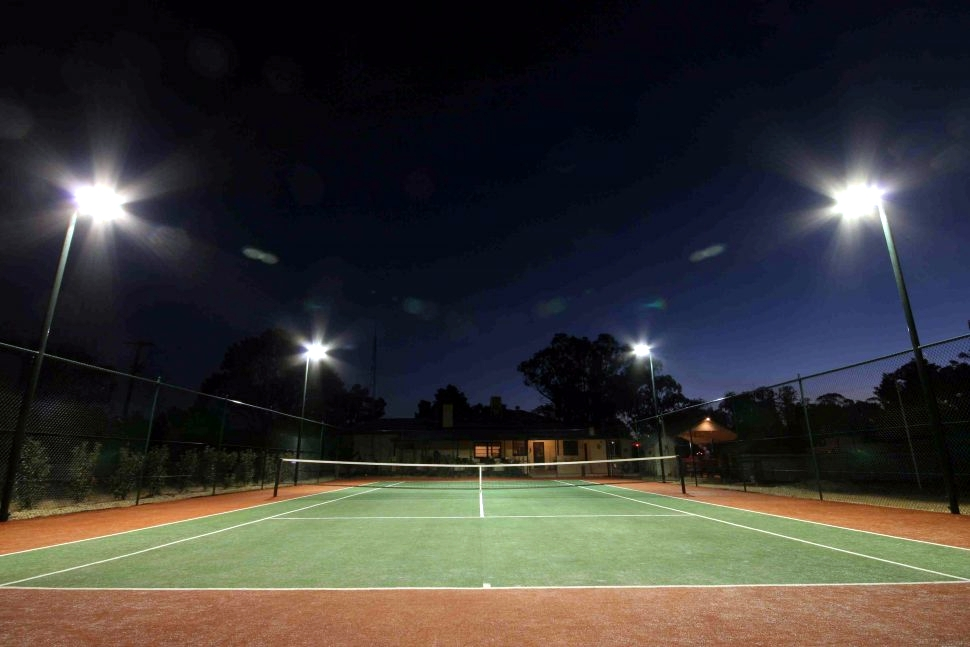 LED floodlights at sport accommodations